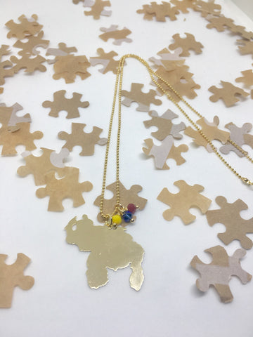 Puzzle Design Gold Venezuela Map Necklace