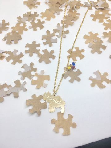 "Puzzle Design Gold ""Libertad"" Venezuela Map Necklace"