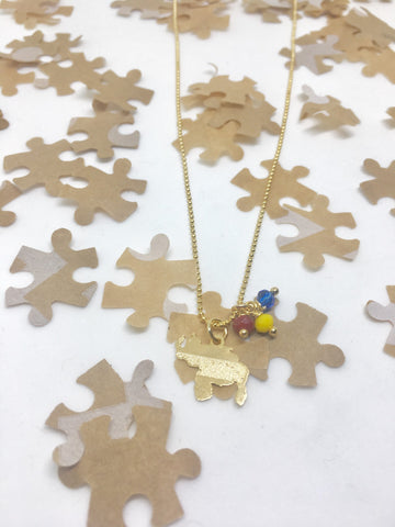 Puzzle Design Mini Gold Venezuela Map Necklace