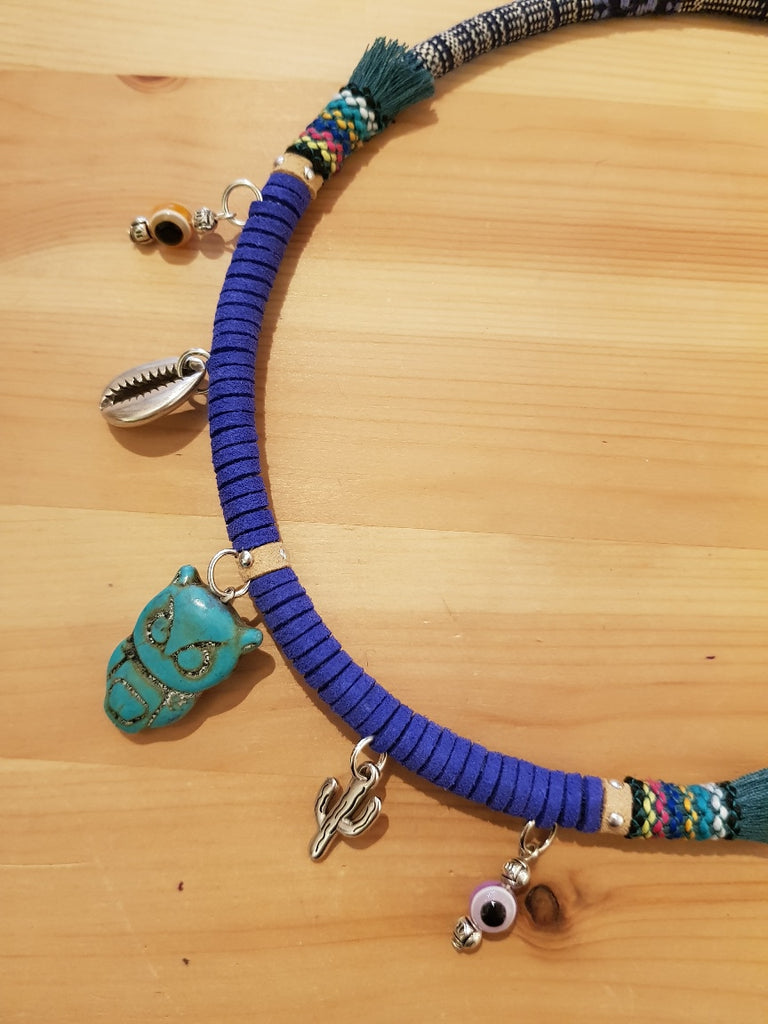 Moda Maca Owl Charms Blue Necklace