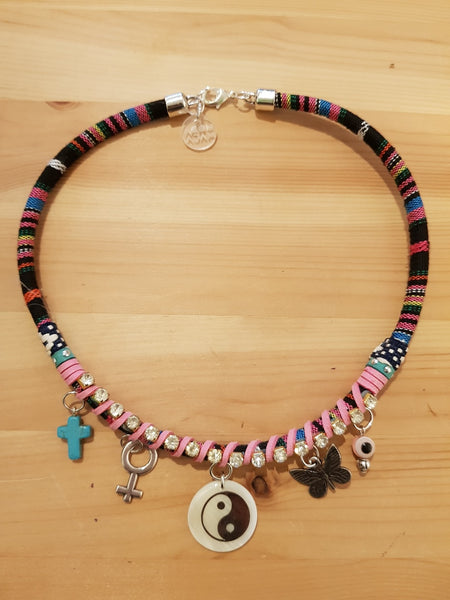 Moda Maca Yin Yang Charms Pink Necklace