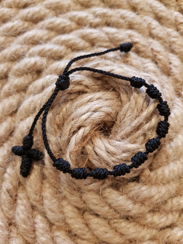 Nudes Cord Knotted Thread Rosary Bracelet - MORE COLOURS AVAILABLE