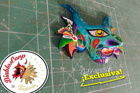 Diablos Corp hand painted mask - Bruja Carnaval