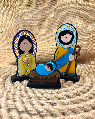 Mary C. Artesanías Three Piece Yellow Nativity Set