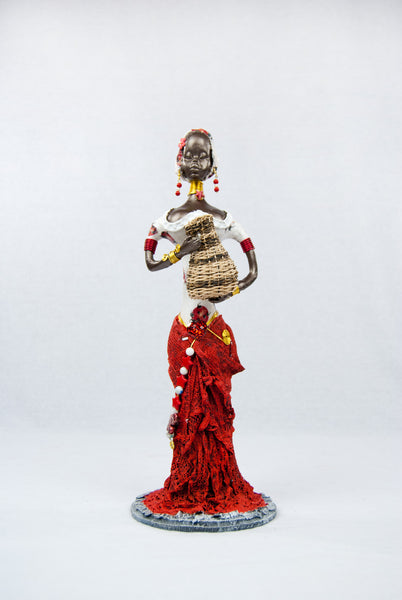 Reinaldo Mendez Holding Basket Red African Doll - Small