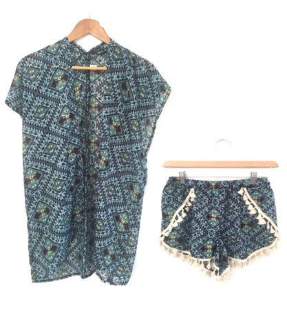 Sisla´s Summer Tribal Blue Tassel Detail Shorts
