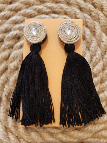 Udon Black Tassel Jute Earrings