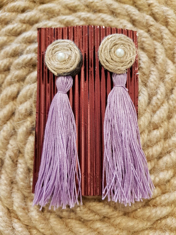 Udon Lavender Tassel Jute Earrings