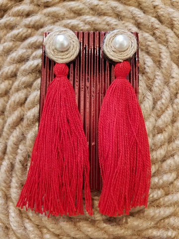 Udon Red Tassel Jute Earrings