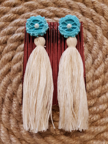 Udon Turquoise Cream Tassel Earrings