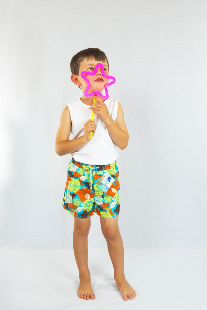 Vieiras y Arenas Rose Print Kid's Swimming Shorts