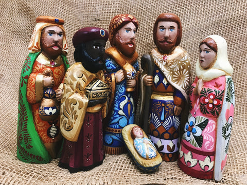 Indigo Handpainted Medium 6 Piece Nativity Set