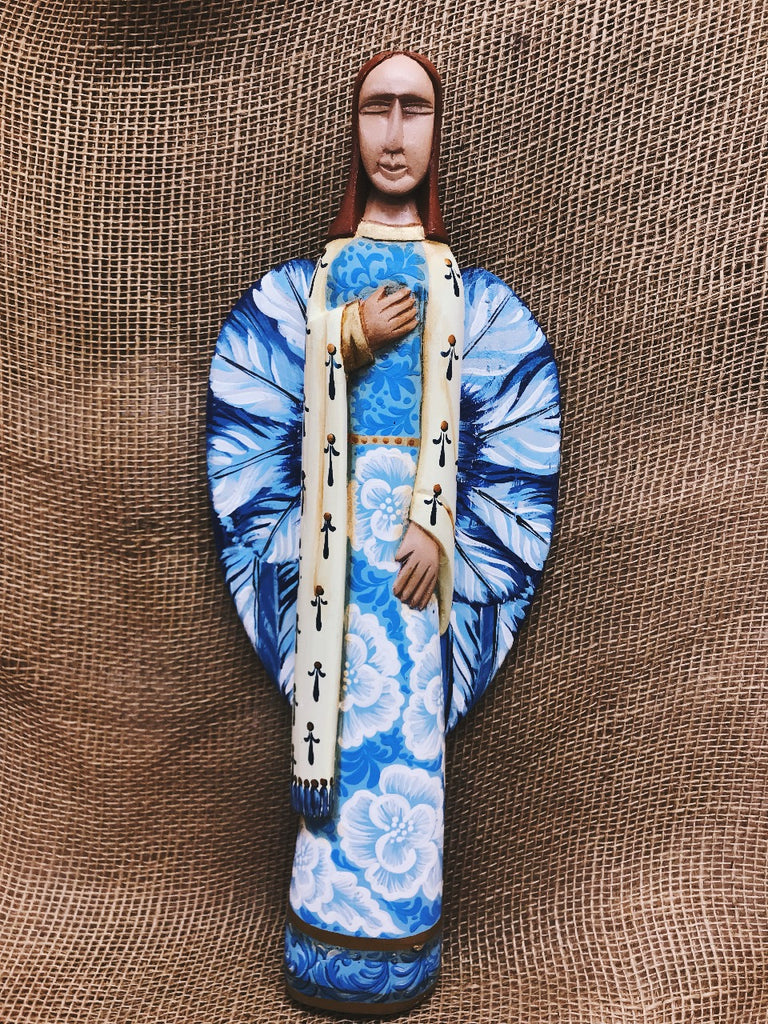 Indigo Handpainted Wooden Angel