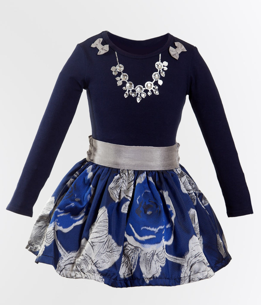Monikerias Girls Silver & Blue Floral Outfit