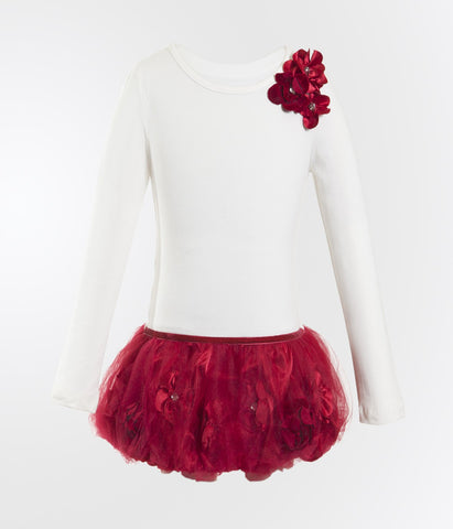 Monikerias Girls Red Pom Pom Dress