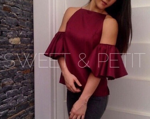 Sweet & Petit Naomi Off Shoulder Burgundy Top