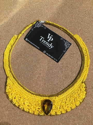 VP Trendy Yellow Crochet Necklace