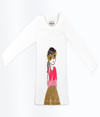 Monikerias Girls White Doll Long Sleeve Shirt