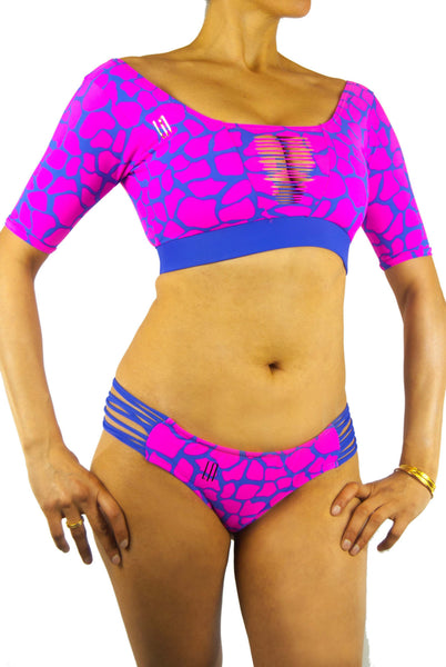 Lunhoa Crop Top Short-Sleeved Bikini Pink Giraffe - Small