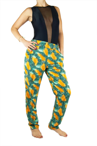 Tiempo Leopard Orange Trousers - Small