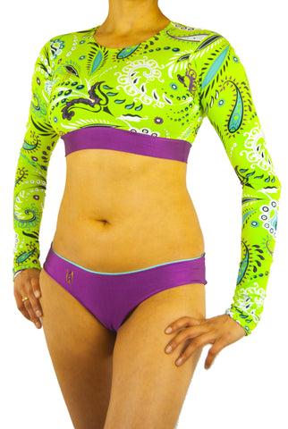 Lunhoa Crop Top Long-Sleeved Bikini Paisley Green - Small