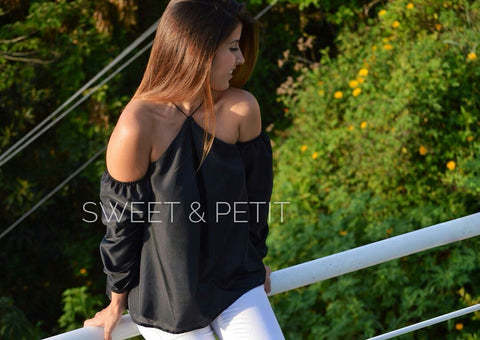 Sweet & Petit Hali Off Shoulder Black Top