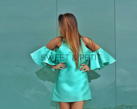 Sweet & Petit Naomi Off Shoulder Mint Dress