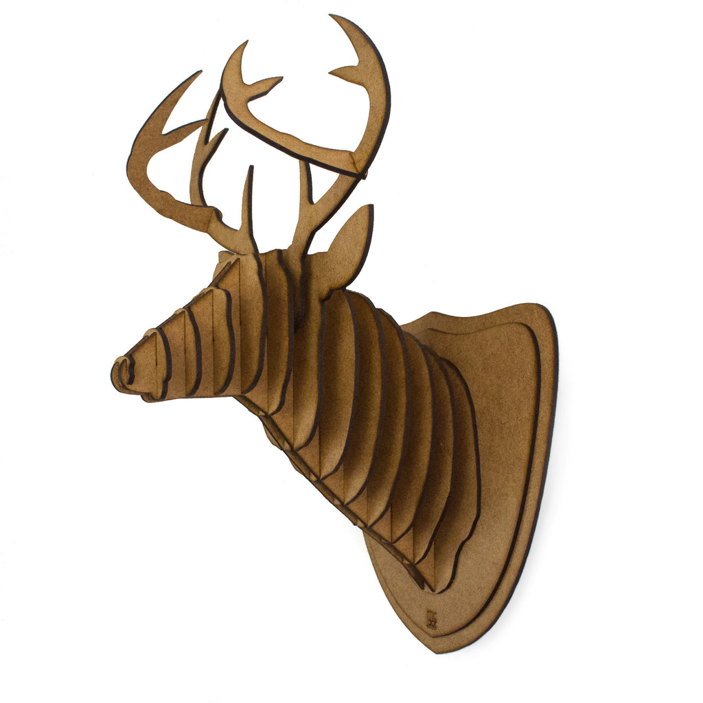 Tic Toc Laser Cut Deer Head Wall Mount