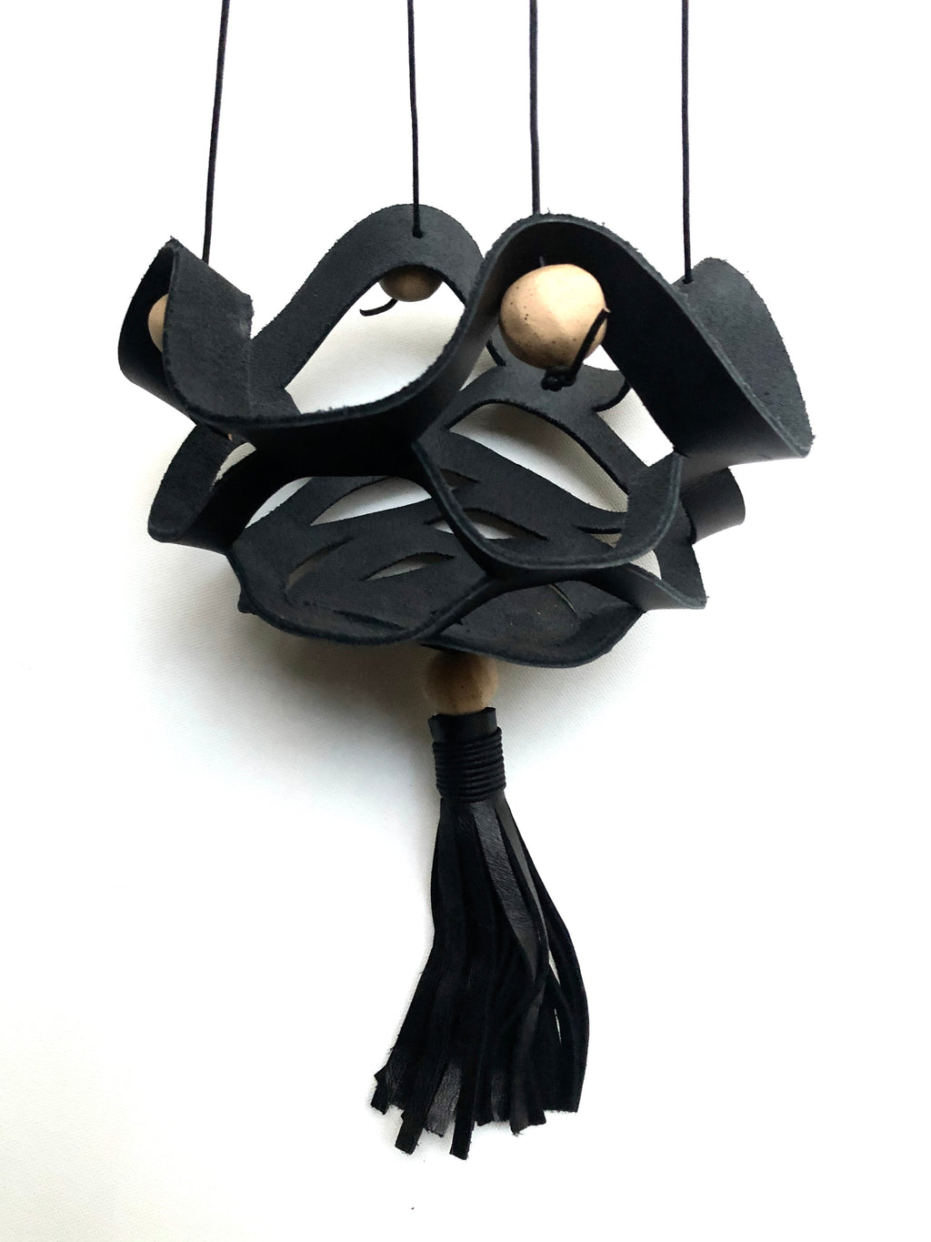 Plant Hanger - Black Leather / Speckled Stoneware