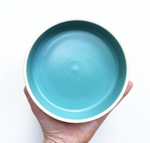 Small White Deep Plate - Teal