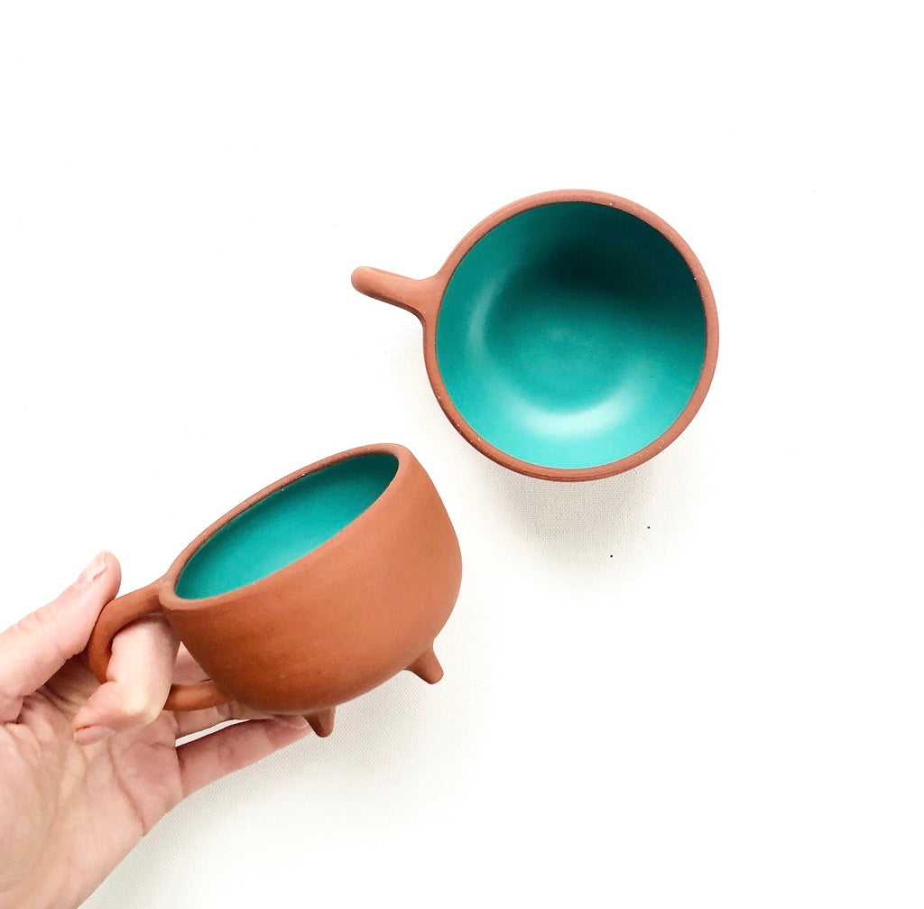 Terra Red Footed Mug - Satin Teal