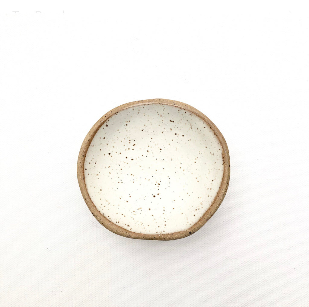 Speckled Trinket Dish/ Matte White