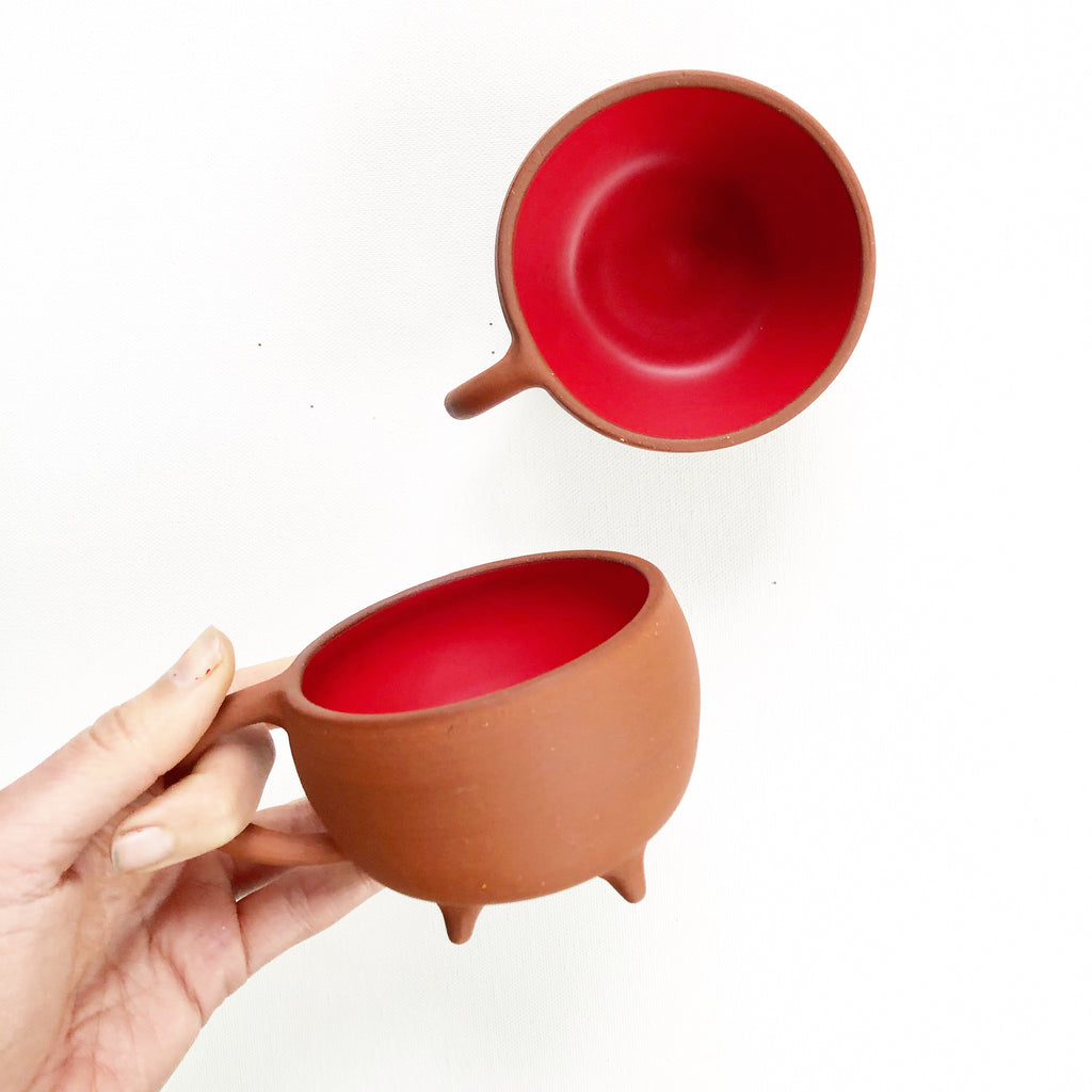 Terra Red Footed Mug - Satin Red