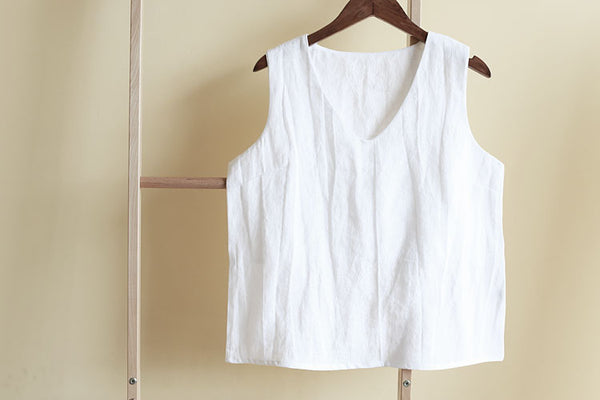 100% Linen V-Neck Summer Casual Vest For Women