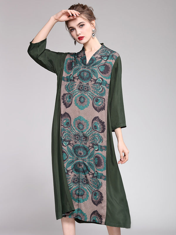 Loose Elegant Print Dresses Women Spring Clothes Q15019