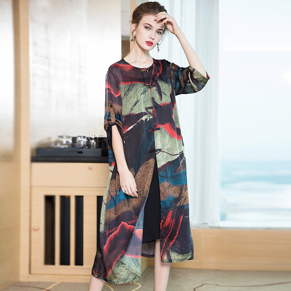Chinese Style Vintage Loose Dresses For Women Q15018