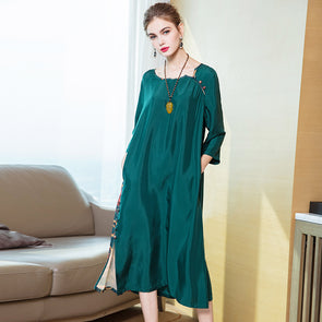 Vintage Green Quilted Loose Dresses For Women Q20029