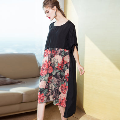 Women Black Quilted Print Dresses Casual Clothes Q16010