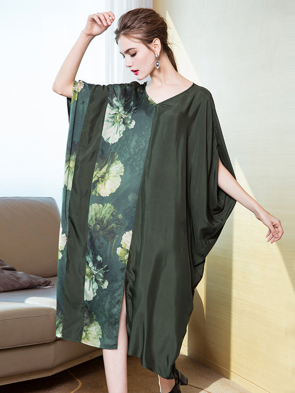 Green Vintage Quilted Loose Dresses For Women Q16015