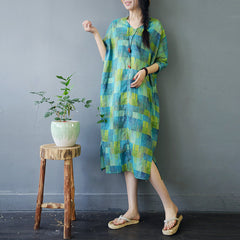 Cute Green Loose Linen Dresses Women Fashion Clothes S778