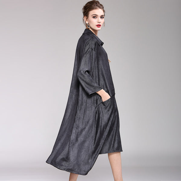 Gray Fashion Loose Button Down Long Coat For Women Y937