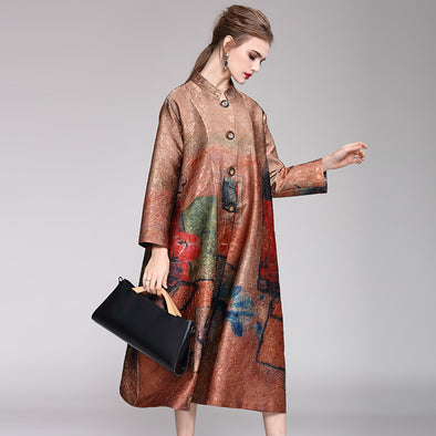 Vintage Loose Print Long Wind Coat Women Casual Outfits Y958