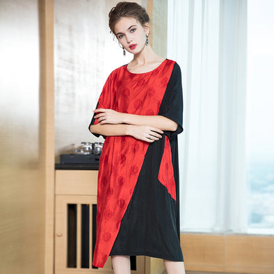 Loose Quilted Print Dresses Women Casual Clothes Q20028