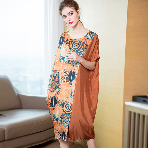 Coffee Loose Print Elegant Dresses Women Casual Summer Clothes Q15010