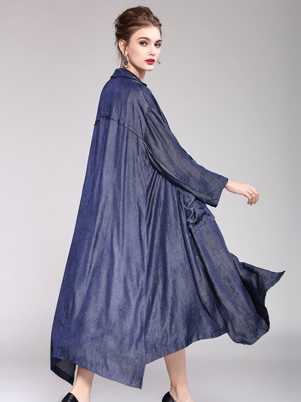 Blue Fashion Pure Color Loose Coat Women Outfits For Spring Y951