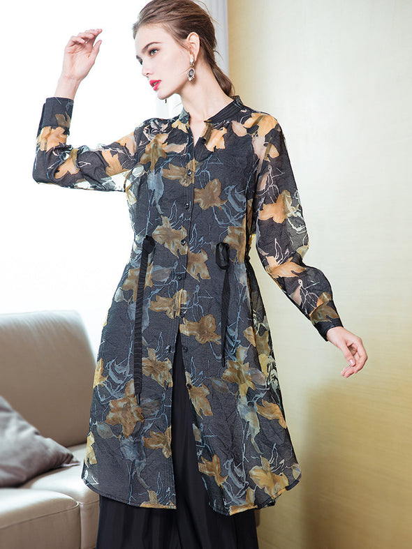 Black Elegant Loose Print Chiffon Wind Coat For Women 1927