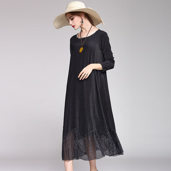 Black Quilted Loose Dresses Women Elegant A Line Clothes Q18027