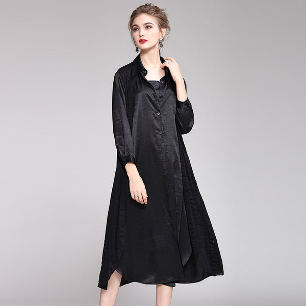 Black Elegant Loose Dresses Women Spring Casual Clothes Q16011