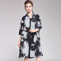 Women Elegant Print Button Down Wind Coat Casual Outfits 1985