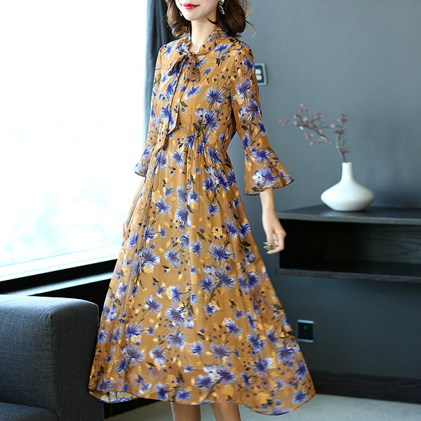 Yellow Floral Casual Dresses Women Fashion Spring Clothes Q5032